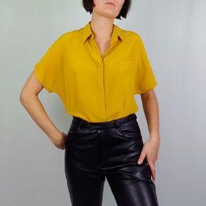 Vintage Mustard Silk Short Sleeve Button Up